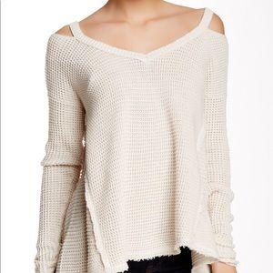 Free People Moonshine V Neck Cold Shoulder Sweater